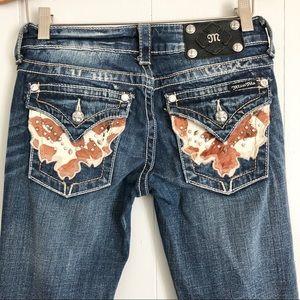 Miss Me JW4292B8 boot cut cow print jeans